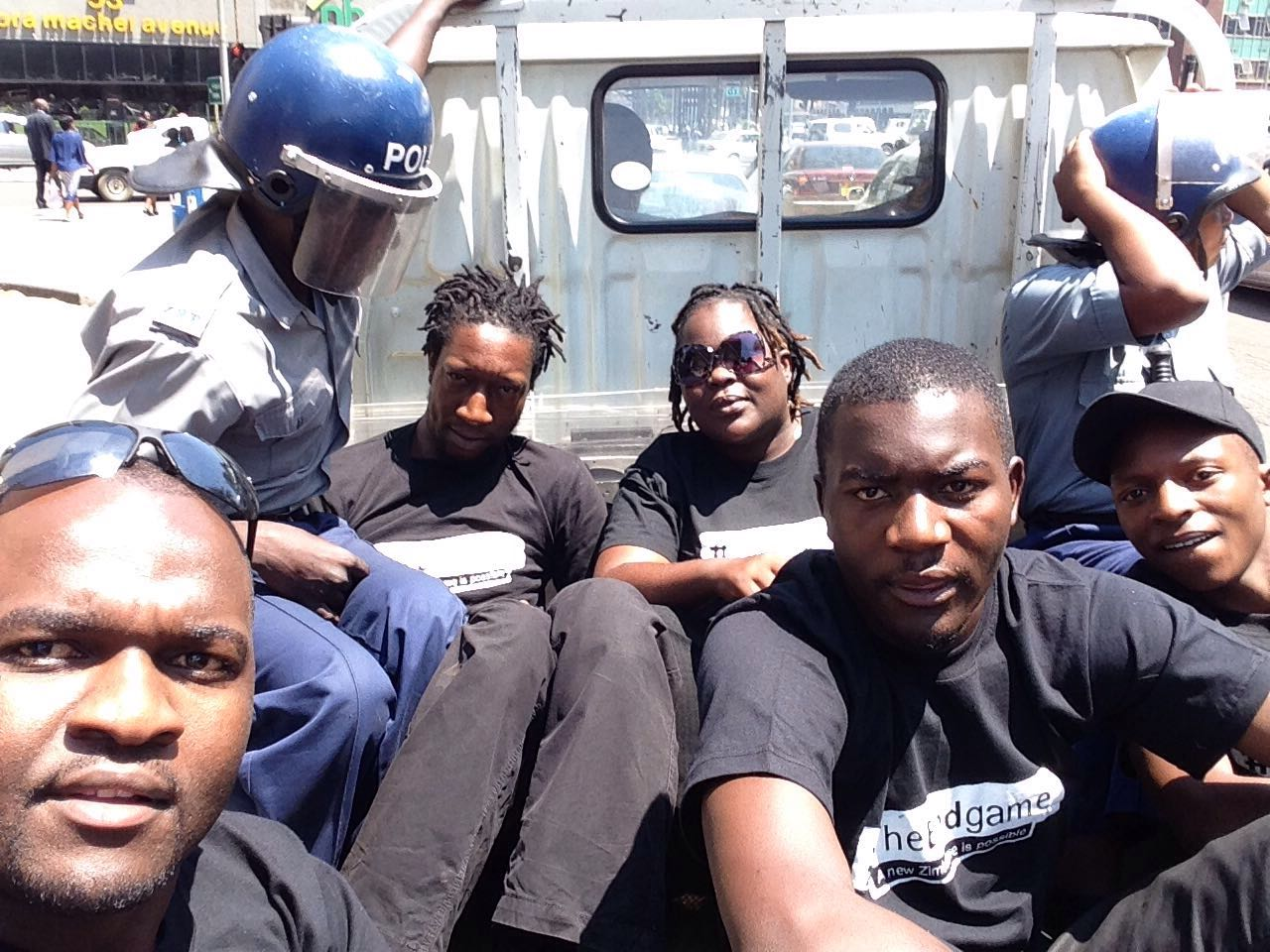 arrested...Linda Masarira with colleagues